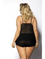 Top et shorty grande taille sexy Fendia noir