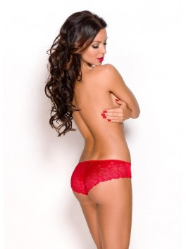 Shorty rouge sexy en dentelle fleurie Aprilla