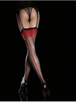 Bas nylon noir liseret rouge Anais FI