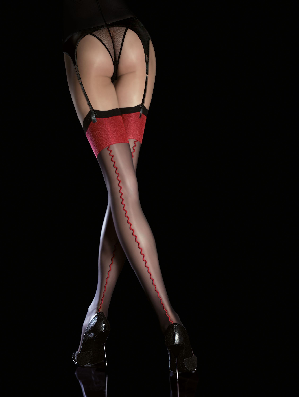 utterly stylish amazing selection cheapest Bas nylon noir liseret rouge Anais FI