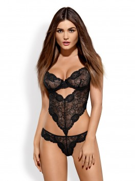 Body bustier noir coupe originale Alluria