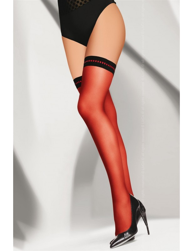 Bas autofixant voile rouge sexy jarretière opaque noire motif rouge Melitta