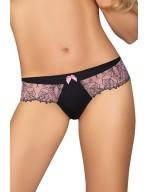 Tanga sexy avec micro-résille rose brodée roses noires Emma
