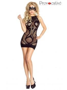 Robe nuisette résille noire Sexy Dress