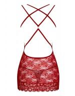 Nuisette coquine rouge en dentelle avec lanières sexy 860-CHE-3