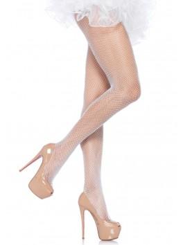 Collant sexy blanc en fine résille coquine 9001