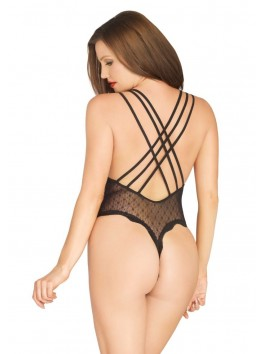 Body femme sexy en maille dentelle avec triple bretelles croisées 89199