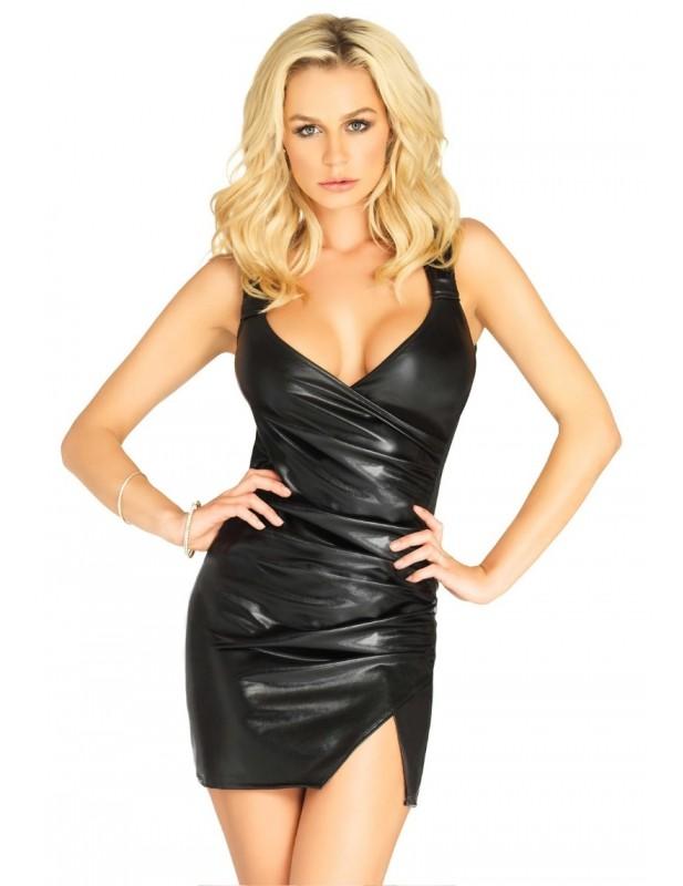 Robe sexy en simili cuir drapé effet portefeuille LO86617 Emma