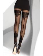 Collant sexy effet couture arrière avec départ jarretière Eselda