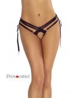 Culotte jarretelles ouverte noire façon harnais avec anneaux PR6091