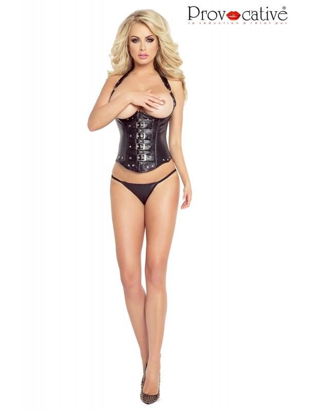 Corset sexy avec seins nus en simili-cuir PR4896