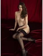 Bas sexy avec mot amour sur jarretières Amante Qualité Premium