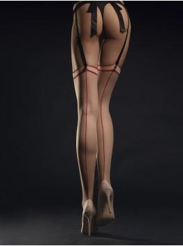 Bas de charme chair et rouge avec couture Madame