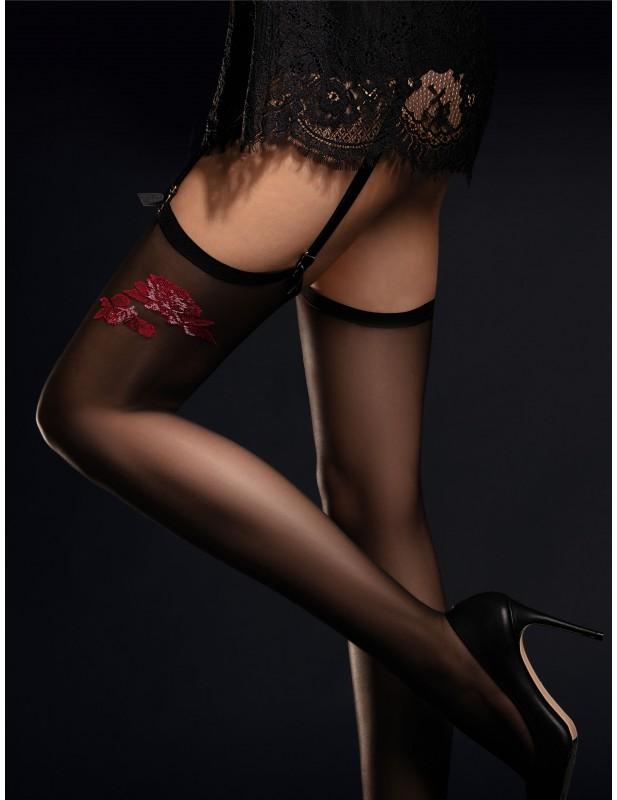 Bas de charme noir avec motif fleur rouge Piccante