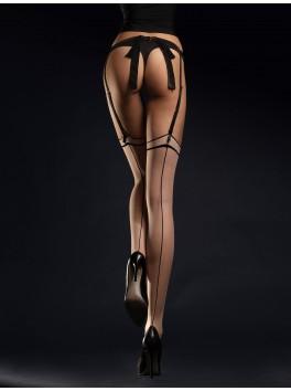 Bas de charme chair et noir avec couture Madame