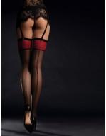 Bas élégant avec jarretières et coutures rouge éclatant Scarlett