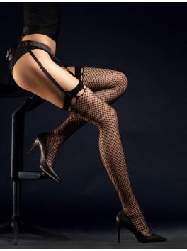 Bas résille sexy 30 deniers avec ouvertures sur jarretières Burlesque