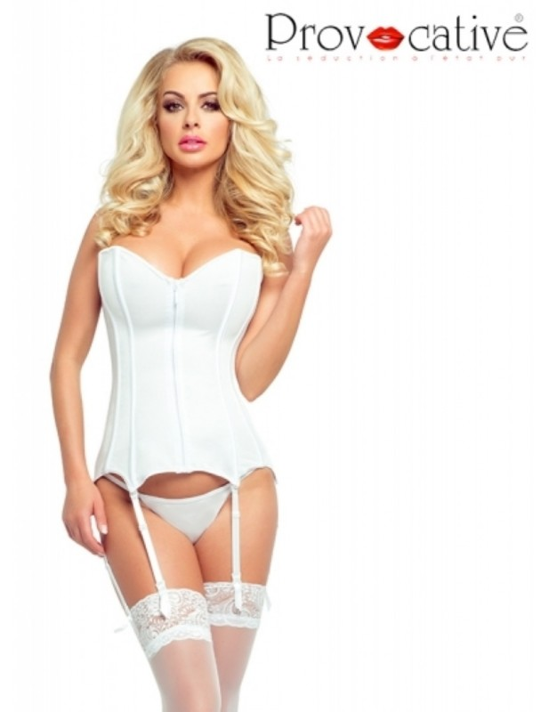 Guêpière corset sexy blanc opaque avec string