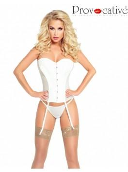 Guêpière corset sexy ivoire opaque avec string