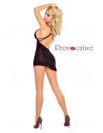 Mini robe sexy noire asymétrique avec volant PR4880