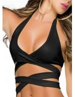 Haut de maillot de bain noir sexy à nouer Top Style 9024