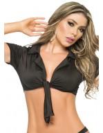 Mini chemisier noir sexy avec col et manches courtes Top Style 9002