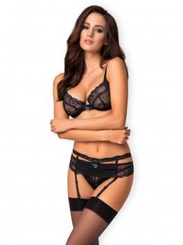 Ensemble 3 pièces noir sexy avec porte-jarretelles et cœurs strass Heartina