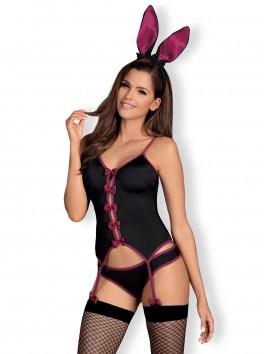 Costume complet de lapine sexy 5 pièces dont bas résille Bunny