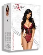 Body féminin en tulle sexy et dentelle rubis Evangelina