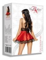 Nuisette rouge élégante en satin et dentelle avec masque et string Eve