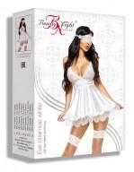 Nuisette blanche élégante en satin et dentelle avec masque et string Eve