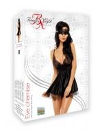 Nuisette noire élégante en satin et dentelle avec masque et string Eve