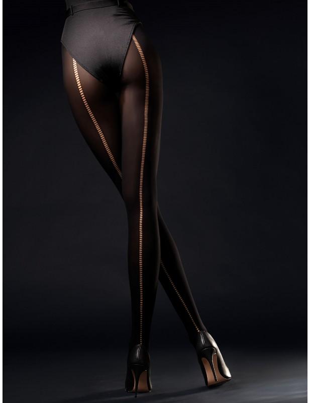 Collant sexy 60 deniers noir avec coutures façon résille Wild Side