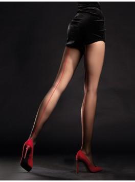 Collant élégance noir avec coutures rouges Unique