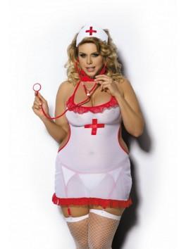 Costume grande taille d'infirmière sexy 4 pièces de charme Shane