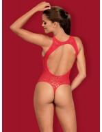 Body ouvert en résille rouge sexy avec effet laçage B120