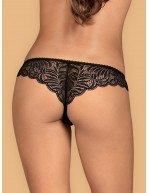 Tanga féminin ouvert motif feuillage noir Contica