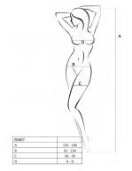 Combinaison rouge sexy et féminine en résille avec cœurs et liens BS067R