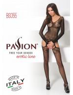 Combinaison féminine avec manches et jarretelles toute en résille BS055