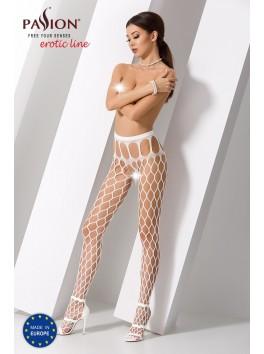 Bas jarretelles blanc sexy à large maille résille S021W