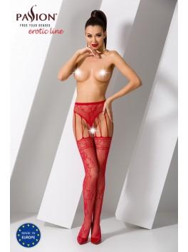 Collant culotte jarretelles en résille rouge féminin S016R