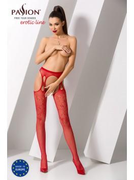Bas avec jarretelles forme 8 en résille rouge féminin S002R