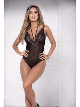 Body transparence noire avec lanières ajustables Style 8476
