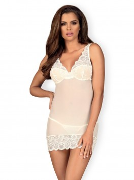 Nuisette blanche sexy avec transparence chic 853-CHE-2
