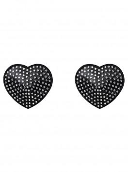 Couvre-mamelon cœur noir avec cristaux A750