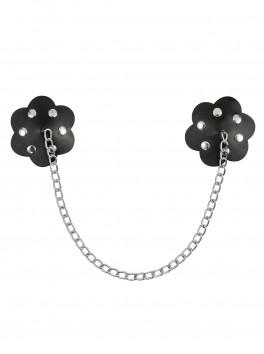 Cache-mamelon fleur noire avec chaîne élégante A748