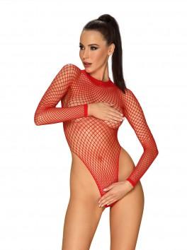 Body string coquin rouge échancré avec manches longues B126