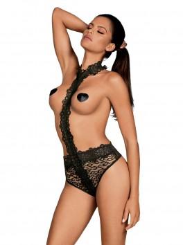 Body érotique en chemin de buste dentelle et motif léopard Crossita