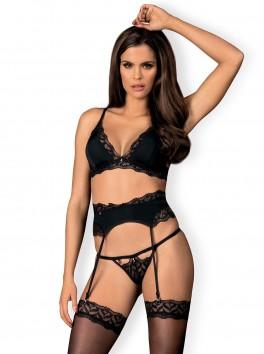 Ensemble lingerie sensuelle trois pièces en tissu satiné et dentelle fine noire Arisha