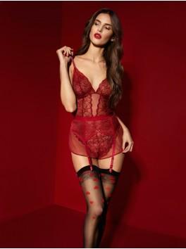 Bas sensuel noir de qualité 20 deniers avec cœurs rouges Alice